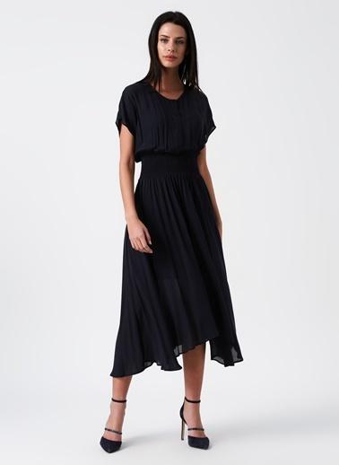 Random Beli Lastikli Midi Şifon Elbise Lacivert